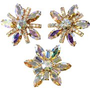 3 Piece Set Brooch and Earrings Aurora Borealis Iridescent Rhinestones