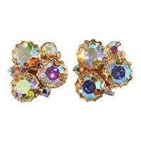 Earrings Aurora Borealis Iridescent Rhinestones Clips Vintage