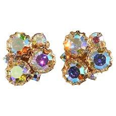 Earrings Aurora Borealis Iridescent Rhinestones Clips Vintage