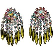 Dangle Earrings Iridescent and Green Rhinestones Vintage
