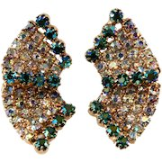 1950s Wavy Iridescent Aurora Borealis Rhinestone Earrings