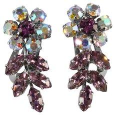 Austrian Purple Floret Rhinestone Earrings Vintage