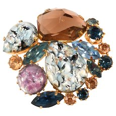 Austria Foiled Cabochon Rocky Stone Brooch Pin Vintage
