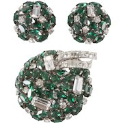 Schoeffel Austria Emerald Green and Clear Rhinestone Brooch Set