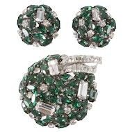Schoeffel Austria Emerald Green and Clear Rhinestone Brooch Set