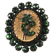 Austrian Flower Cameo Brooch Pin with Green Rhinestones Vintage