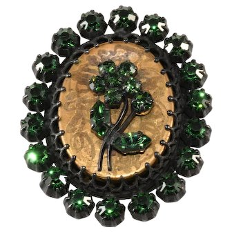 Austrian Flower Cameo Brooch Pin with Green Rhinestones Vintage