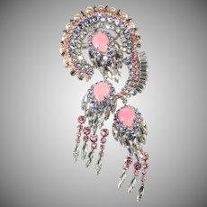 Austrian HUGE 6.25 Inch Alexandrite Pink Rhinestone Brooch Pin Dangles Vintage