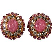 Austrian Pink and Clear Rhinestone Earrings