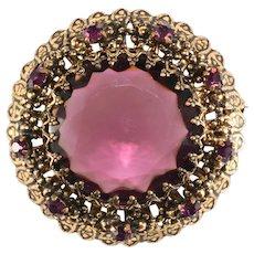 Austria Brooch Purple Rhinestones Vintage Pin Amethyst Color