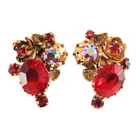 Austria Earrings Red Rhinestones Flower Design Vintage