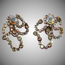 Austrian LARGE Aurora Borealis Iridescent Earrings Vintage 1950s