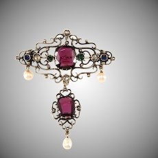 Austro Hungarian Brooch Pin Victorian Era Amethyst Pearl Pendant for Necklace