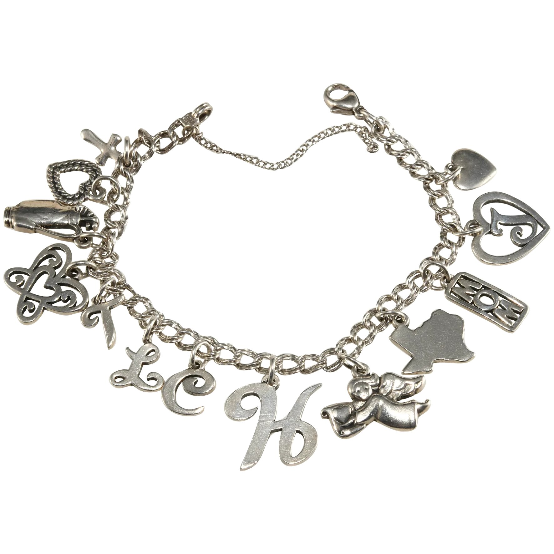 James Avery Charms Bracelet Sterling Silver Texas Mom Golf Letters Butterfly Hearts Angel