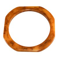 Bakelite Bangle Bracelet Rounded Square Butterscotch Yellow Brown Marbled Vintage