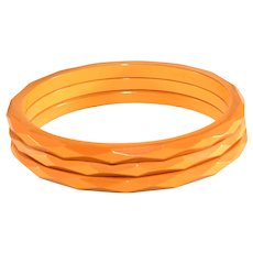 Bakelite Bangles Bracelets Set Carved Faceted Butterscotch Yellow Vintage Three Trio