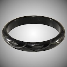 Bakelite Carved Black Bangle Bracelet Vintage