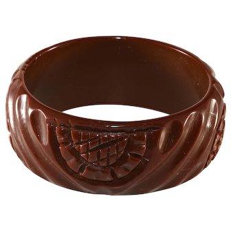 Bakelite WIDE Carved Brown Bangle Bracelet Vintage