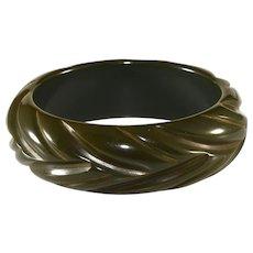 Bakelite Dark Green Carved Bangle Bracelet