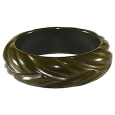 Bakelite Dark Green Carved Bangle Bracelet