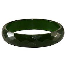 Bakelite Green Faceted Bangle Bracelet Vintage