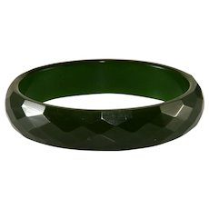 Bakelite Green Faceted Bangle Bracelet Vintage