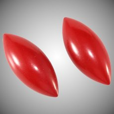 Bakelite Football Shaped Dark Red Clothing Buttons Pair