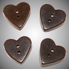 Bakelite Heart Buttons Brown Catalin Vintage Set of 4