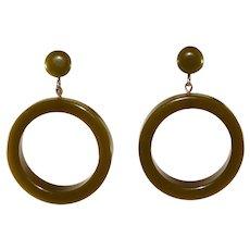 Bakelite Olive Green Dangle Hoop Earrings Vintage