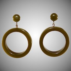 Bakelite Olive Green Dangle Hoop Earrings Vintage