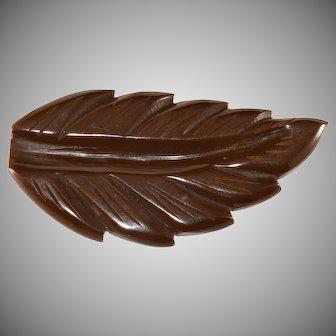 Bakelite Brown Leaf Dress Clip Vintage 1930s