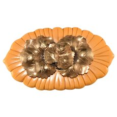 LARGE Bakelite and Metal Lily Pad Brooch Pin Vintage