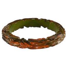 Bakelite Bangle Bracelet Green and Butterscotch Marbled Carved Vintage As-Is