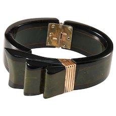 Bakelite Ribbon Laminated Green and Black Hinged Cuff Bracelet