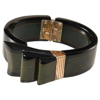 Bakelite Ribbon Laminated Green and Black Hinged Cuff Bracelet