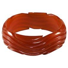 Bakelite Wavy Caramel Bangle Bracelet Vintage