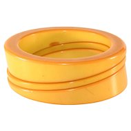 Bakelite Bracelets Wedge Stack Bangles Butterscotch Yellow