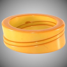 Bakelite Bracelets Wedge Stack Bangles Butterscotch Yellow