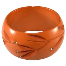 Bakelite WIDE Carved Butterscotch Bangle Bracelet with Rhinestones