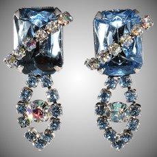 1950s Ballet Blue Rhinestone Dangle Earrings Vintage