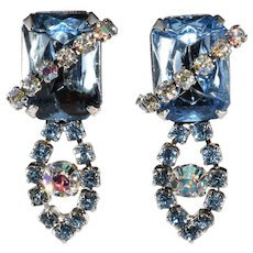 1950s Ballet Blue Rhinestone Dangle Earrings Vintage