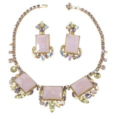 1950s Necklace Earrings Set Purple Yellow Rhinestones by Ballet