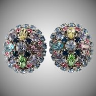 1950s Pastel Rhinestone Earrings Easter Eggs by Ballet Vintage