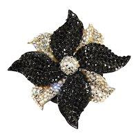 Barbara Groeger Brooch LARGE Black Clear Rhinestones Pinwheel Flower Richard Kerr Style