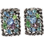 Barclay Pastel Rhinestone Earrings Vintage 1950s