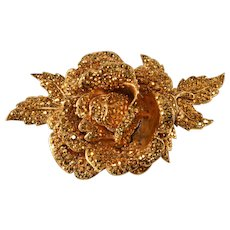 HUGE Jose and Maria Barrera Aurum Rhinestone Brooch Pin Vintage