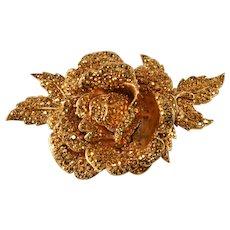 HUGE Jose and Maria Barrera Aurum Rhinestone Brooch Pin Vintage