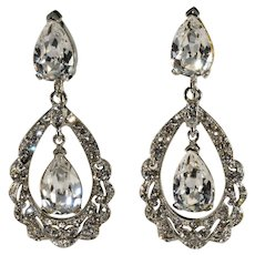 Barrera Earrings Clear Rhinestones Dangles Hoops Drops Neiman Marcus