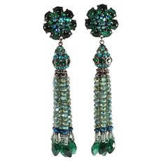 Barrera Earrings Teal Green Blue Dangles Beads Tassels Neiman Marcus