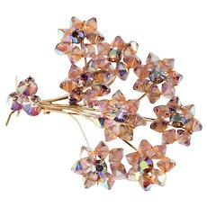 Purple Bead Flower Brooch with Iridescent Rhinestones Vintage